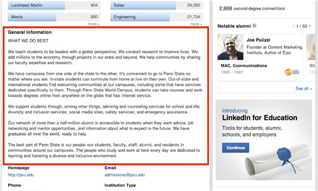an-excerpt-from-penn-states-university-page-on-linkedIn